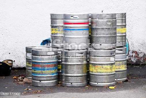 istock Beer and alcohol barrel kegs in a stack group 1251172002