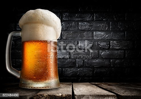 istock Beer and brick wall 522484430