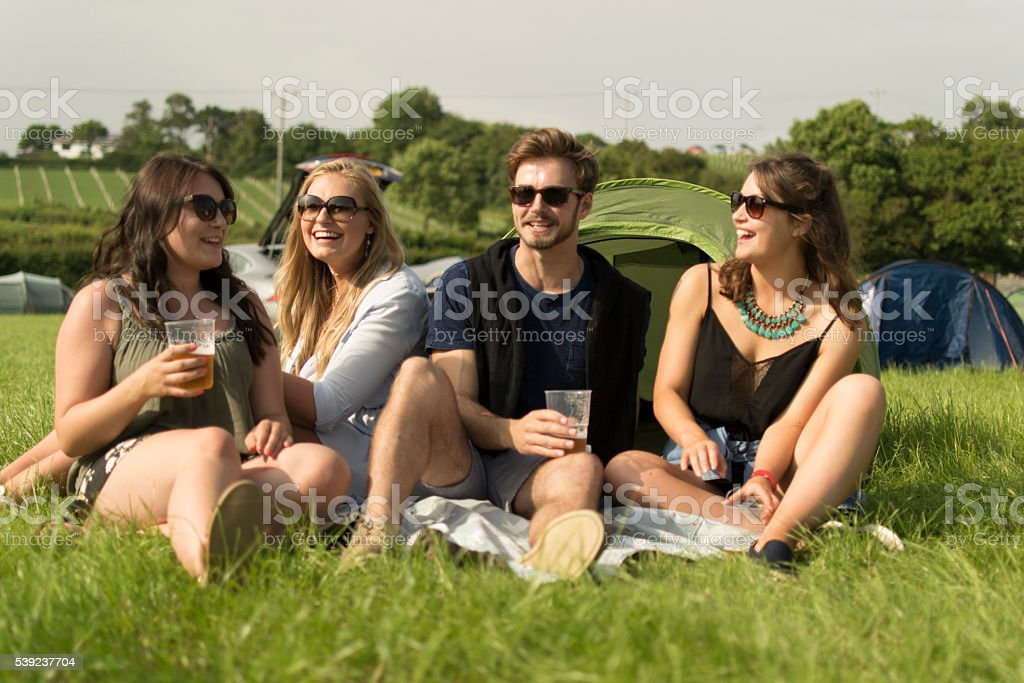 Beer and camping royalty-free stock photo