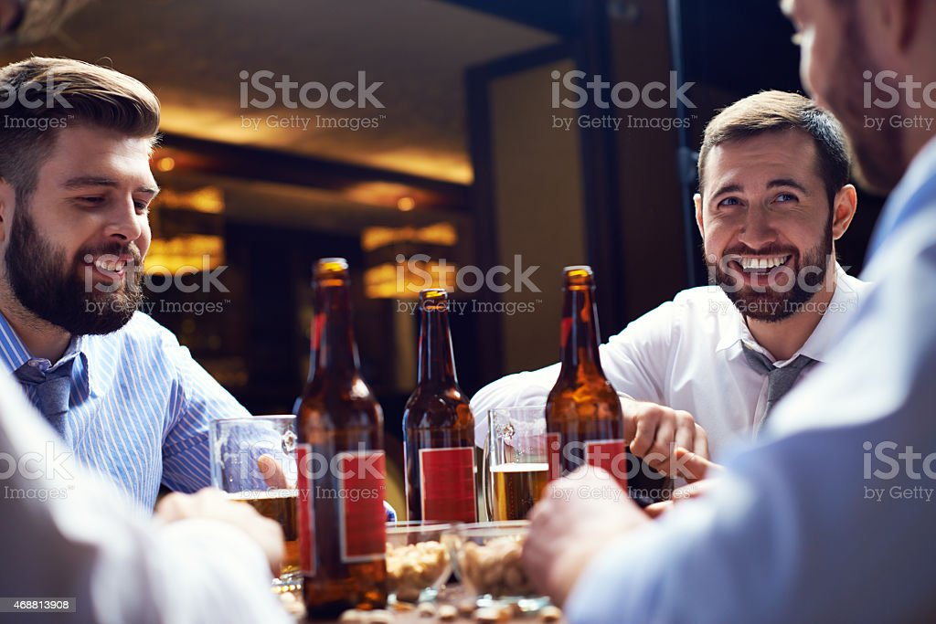 Beer and friends stock photo