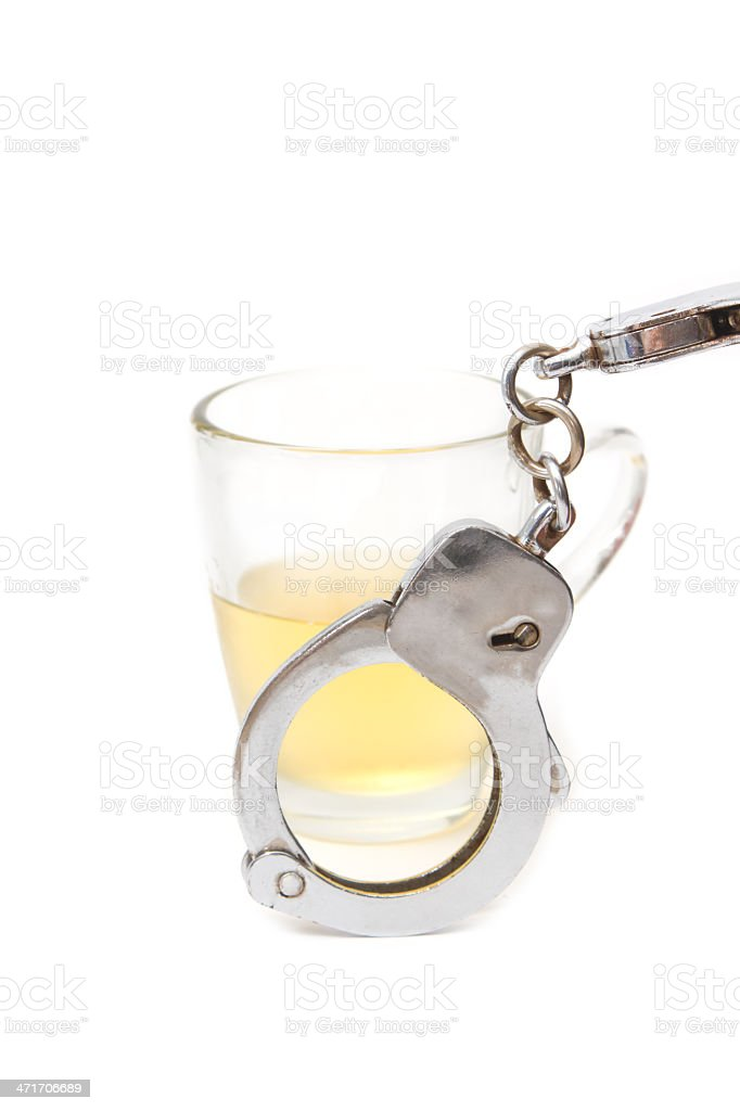 beer and handcuffs,Drunk driving concept stock photo