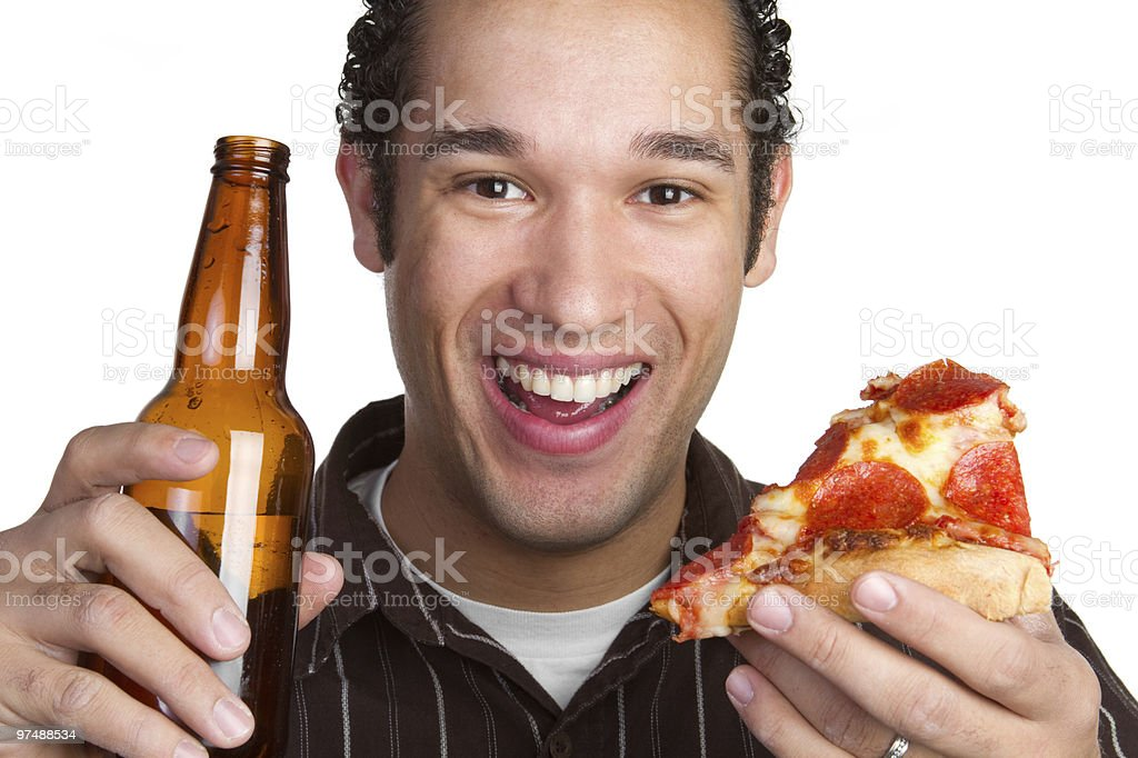 Beer and Pizza Man royalty-free stock photo