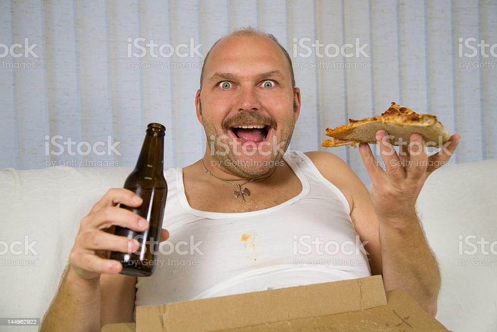 Beer and pizza stock photo
