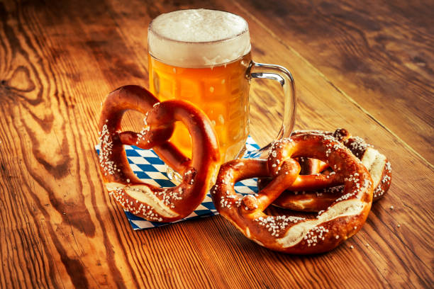 Beer and Pretzel, Oktoberfest Germany stock photo