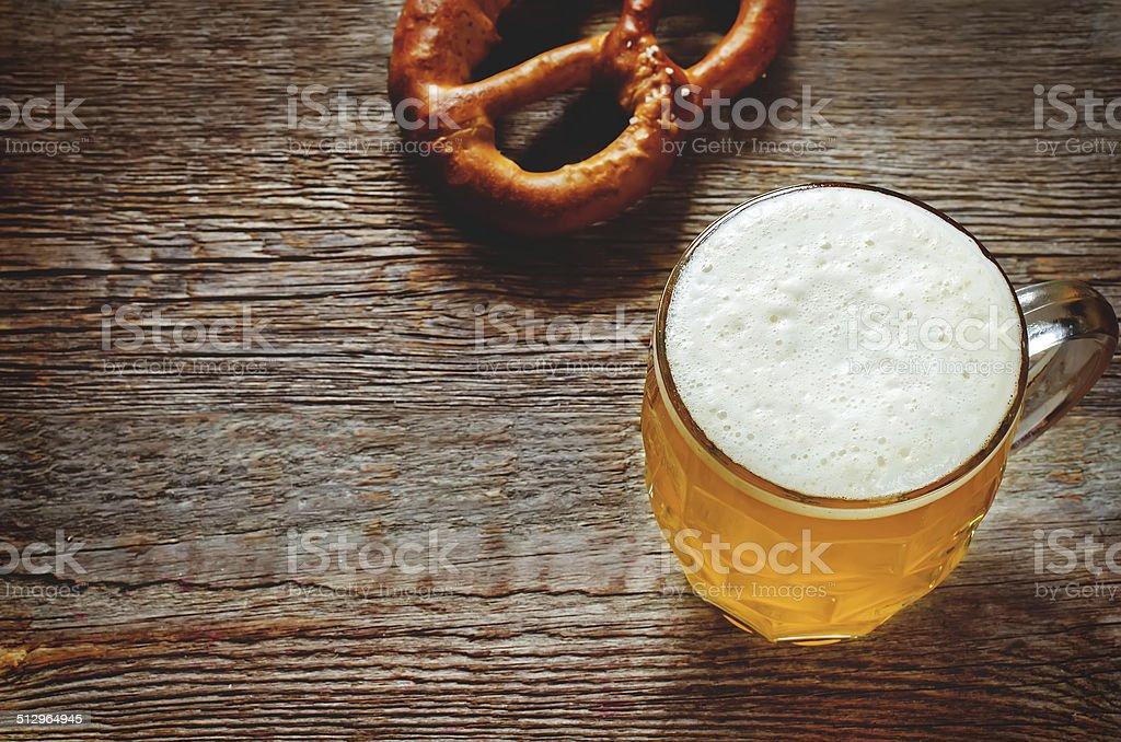 beer and pretzel stock photo