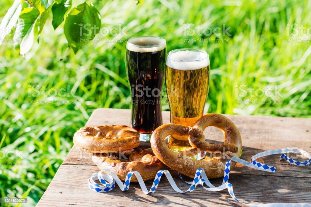 Beer and pretzels, Oktoberfest party stock photo