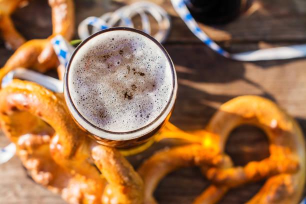 Beer and pretzels, Oktoberfest party stock photo