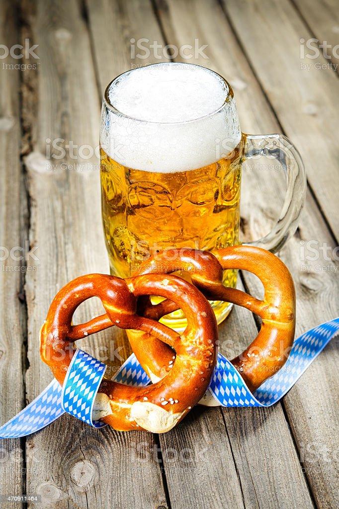 A beer and pretzels symbolising Oktoberfest stock photo