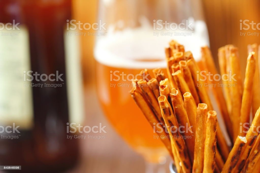 Beer and salted sticks stock photo
