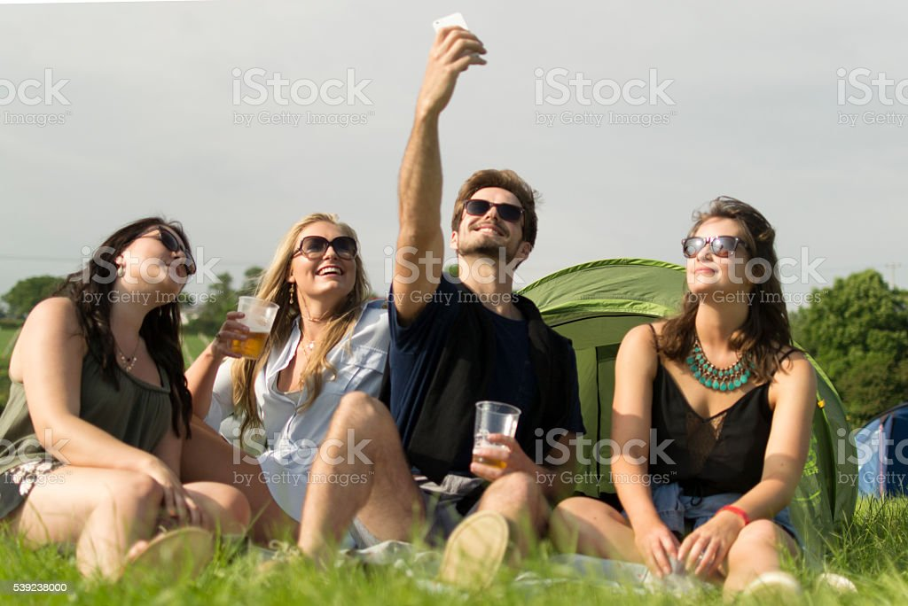 Beer and selfies royalty-free stock photo
