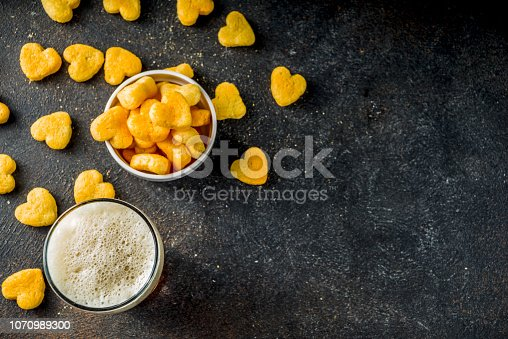 istock Beer and snack for Valentine's day 1070989300