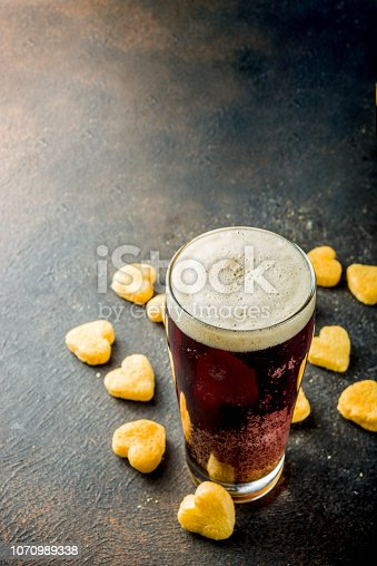 istock Beer and snack for Valentine's day 1070989338