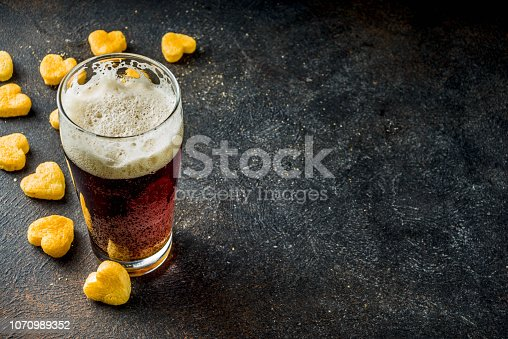 istock Beer and snack for Valentine's day 1070989352
