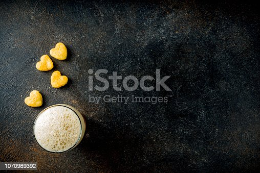 istock Beer and snack for Valentine's day 1070989392