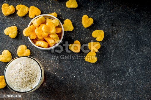istock Beer and snack for Valentine's day 1070989410