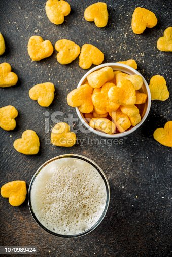 istock Beer and snack for Valentine's day 1070989424