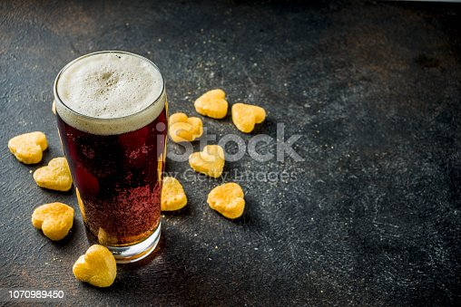 istock Beer and snack for Valentine's day 1070989450