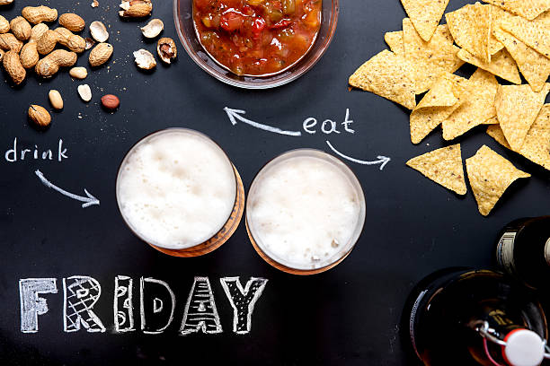 Beer and Snacks on Friday Evening stock photo