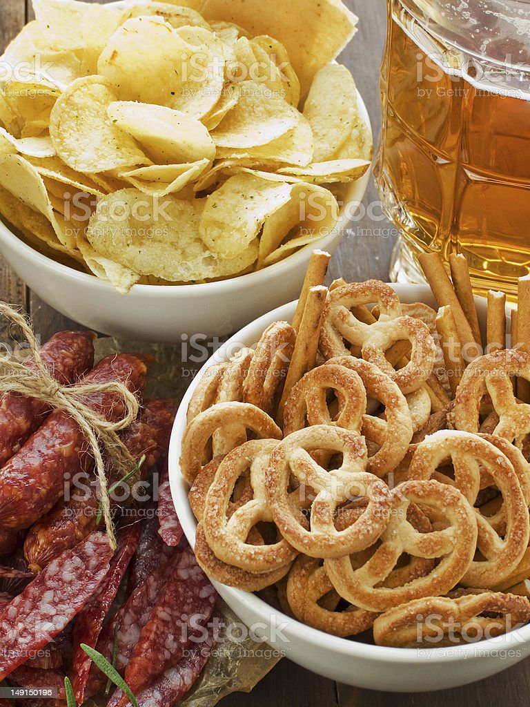 Beer and snacks royalty-free stock photo