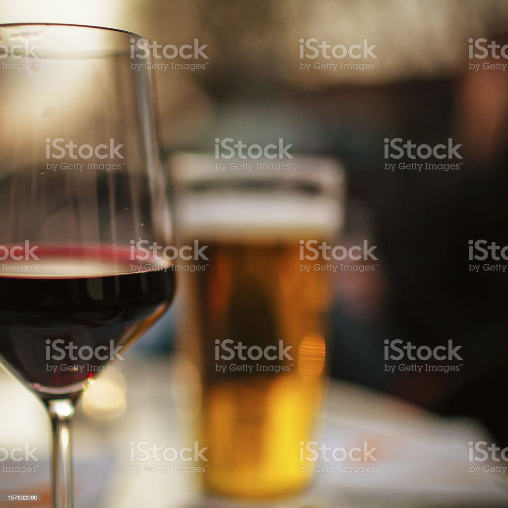Beer and wine royalty-free stock photo