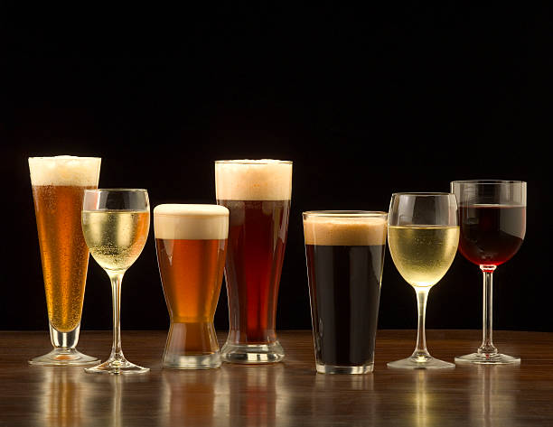 beer and wine - beer alcohol stock pictures, royalty-free photos & images