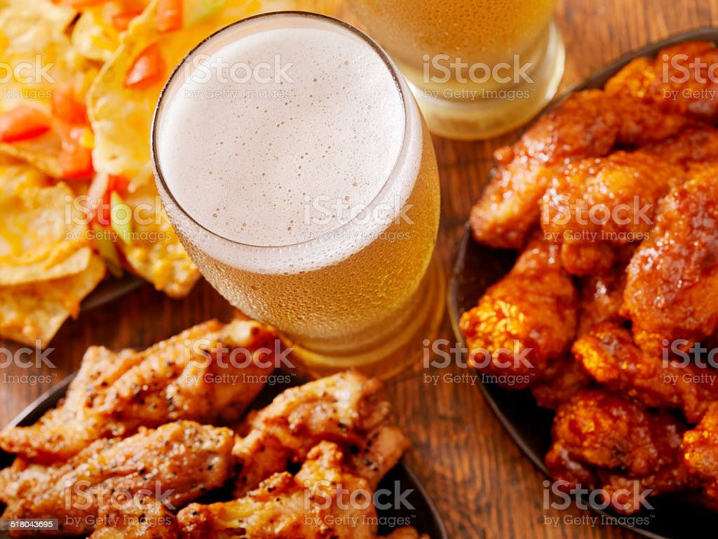 Beer and Wings stock photo