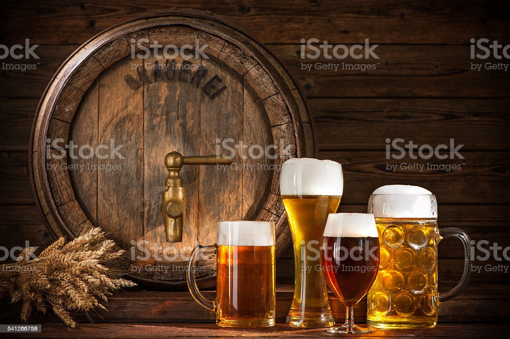 Beer barrel with beer glasses stock photo