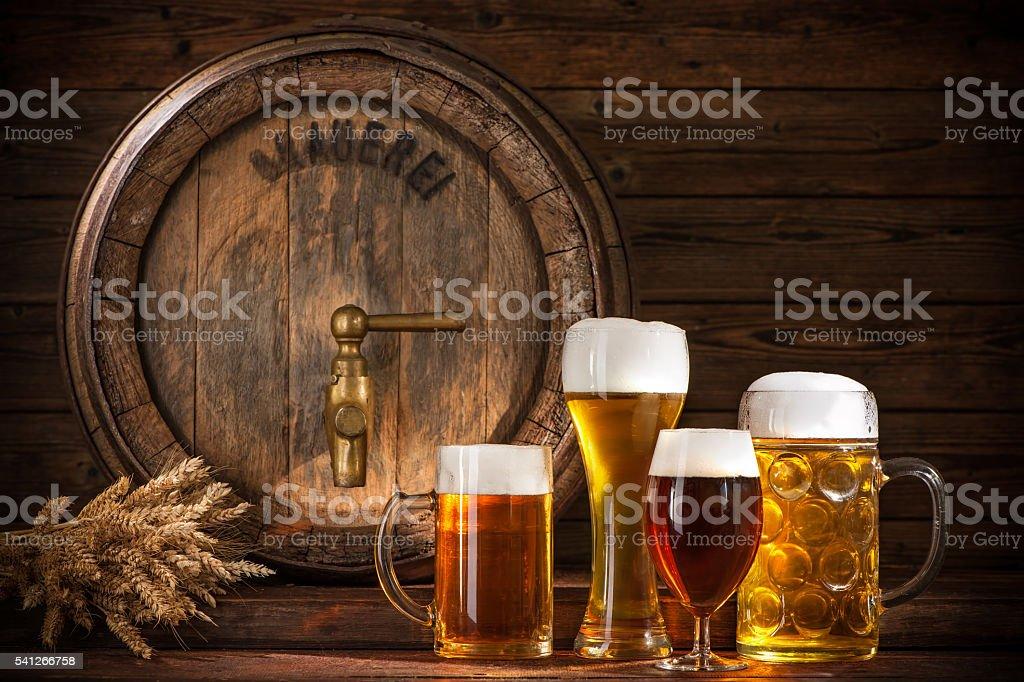 Beer barrel with beer glasses stock photo