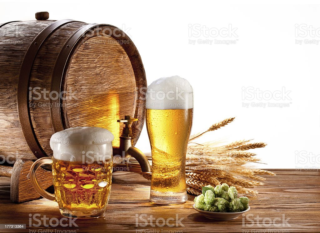 Beer barrel with glasses royalty-free stock photo