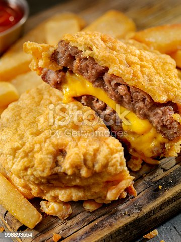 Beer Battered, Double Cheese Burger and Fries