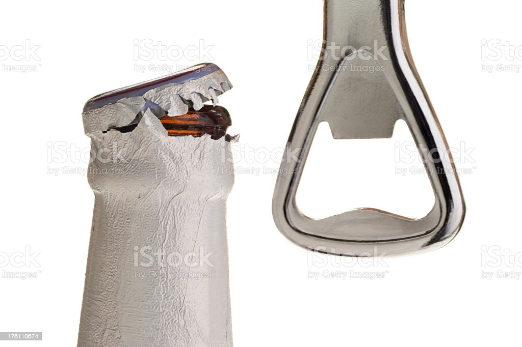Beer Bottle and Opener stock photo