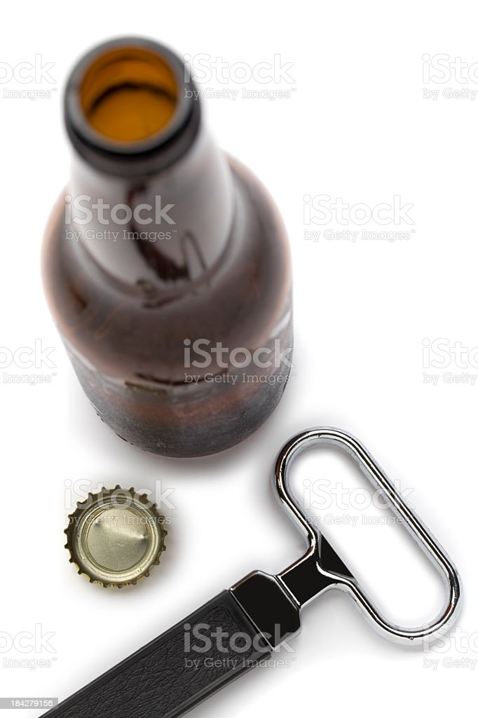 Beer  Bottle and Opener stock photo