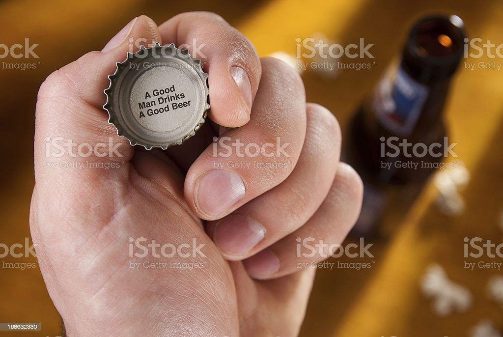 Beer Bottle Cap Message stock photo