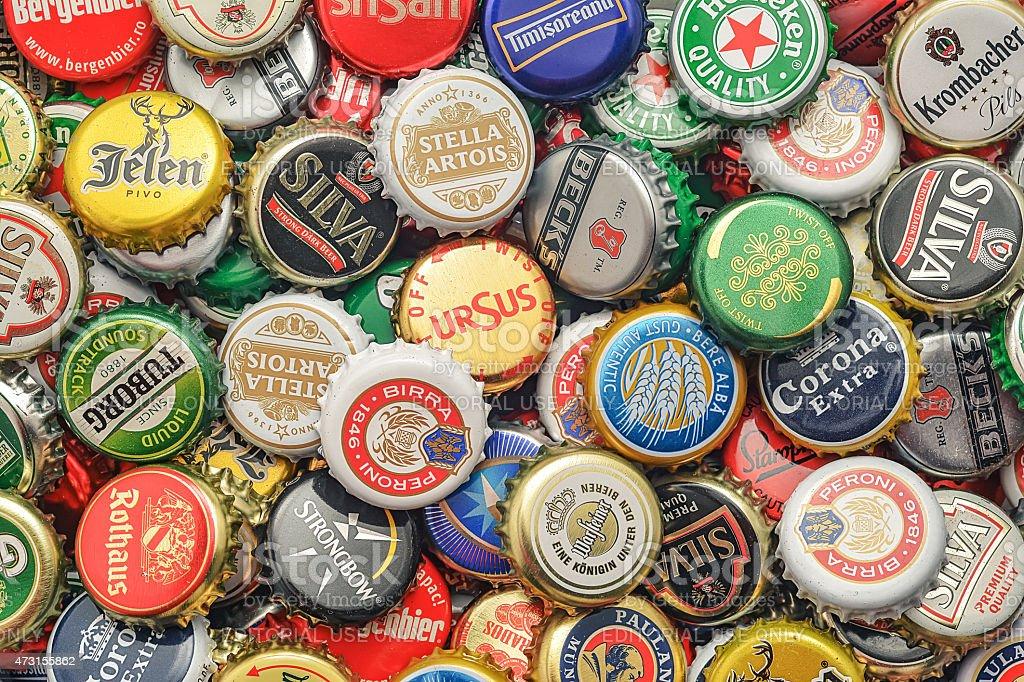 Beer bottle caps background stock photo