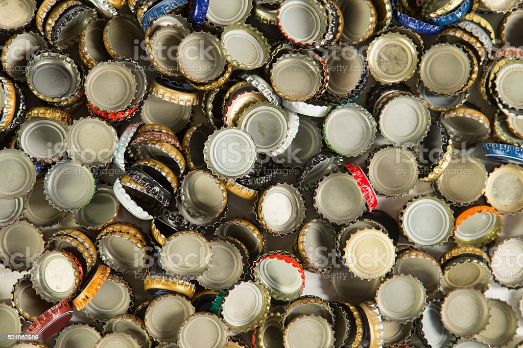 Beer Bottle Caps stock photo