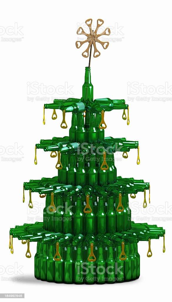 Beer Bottle Christmas Tree stock photo