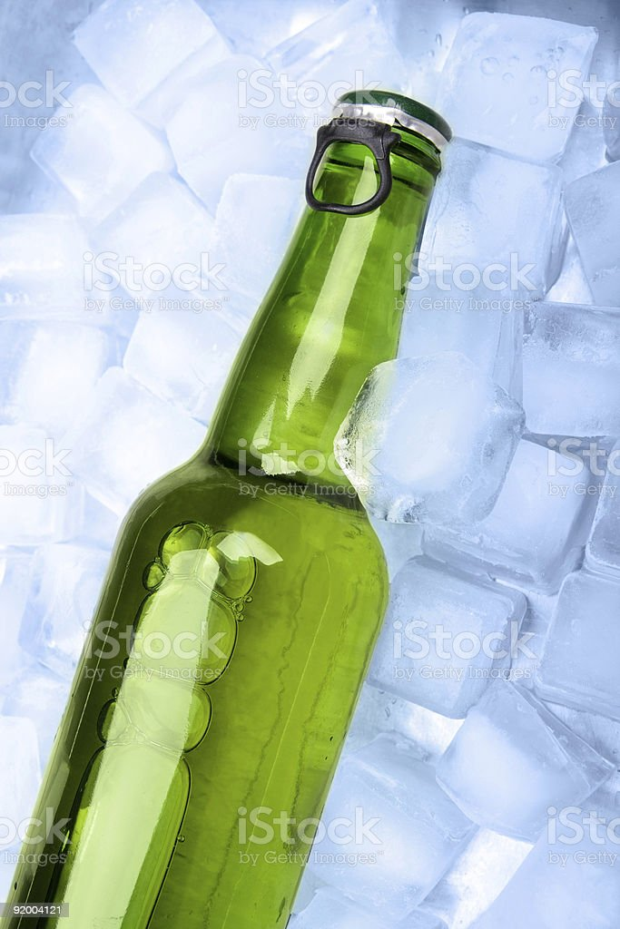 Beer bottle in ice royalty-free stock photo