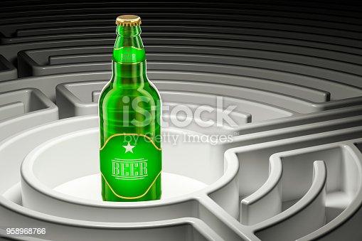 istock Beer bottle inside labyrinth maze, 3D rendering 958968766