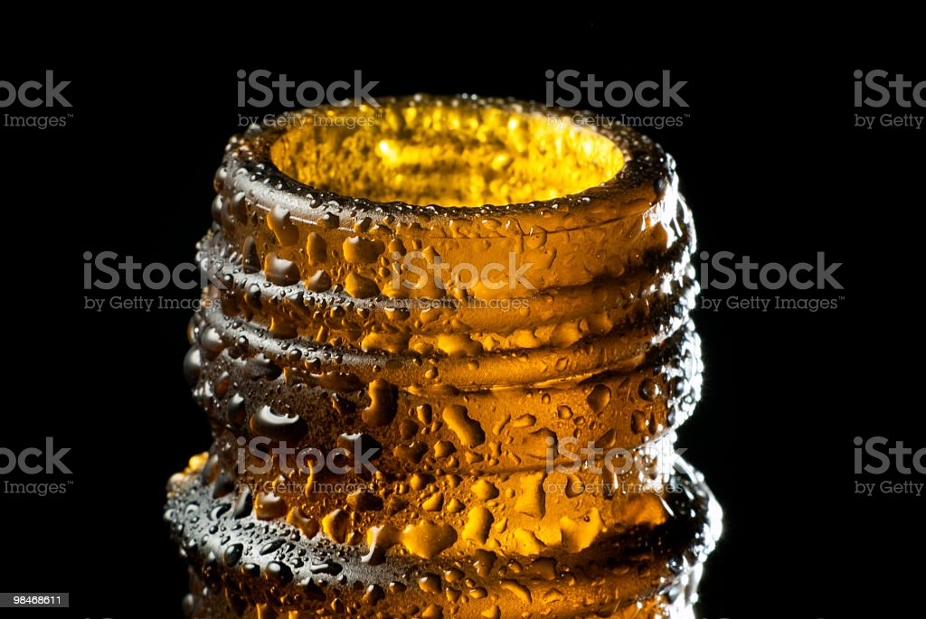 Beer bottle macro royalty-free stock photo
