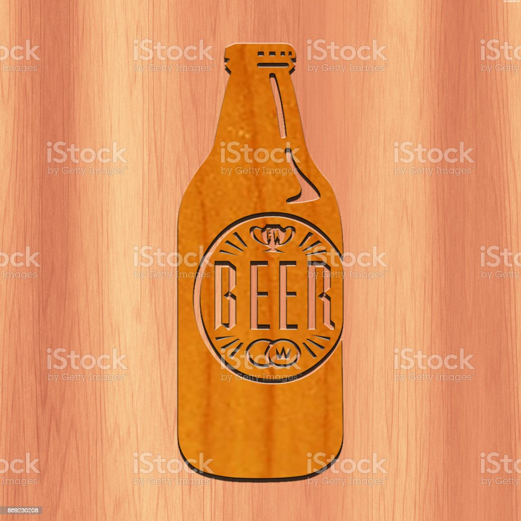 Beer Bottle made with wood stock photo