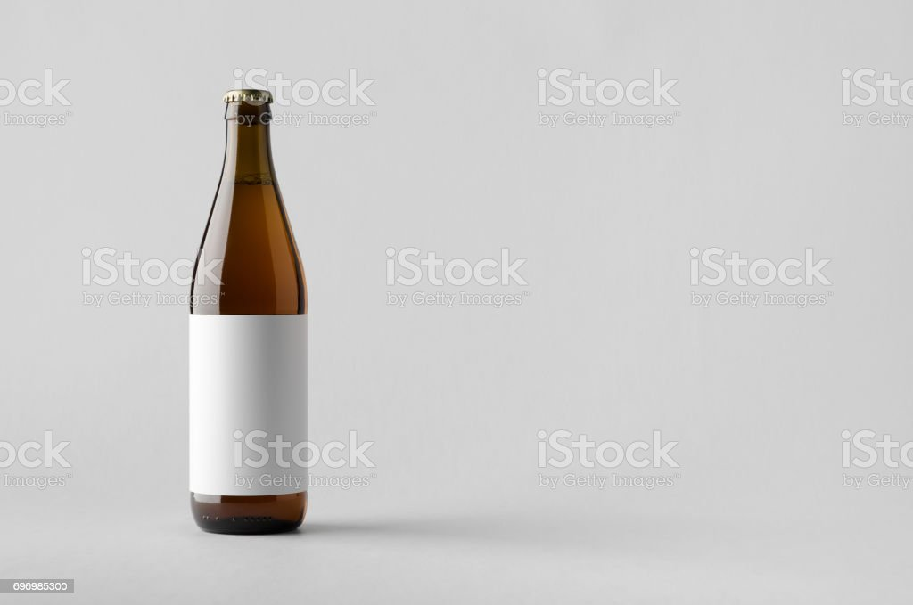 Beer Bottle Mock-Up - Blank Label stock photo