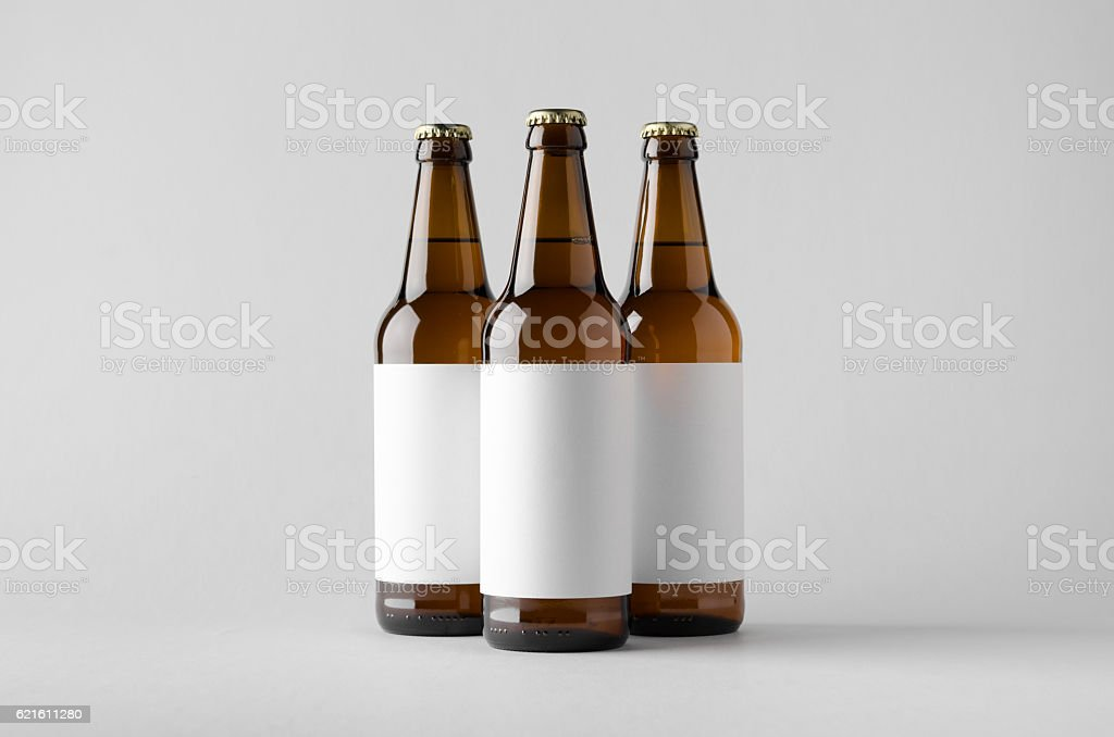 Beer Bottle Mock-Up - Three Bottles. Blank Label stock photo