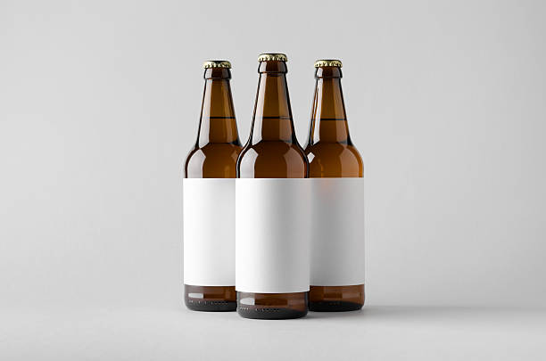 Beer Bottle Mock-Up - Three Bottles. Blank Label stok fotoğrafı