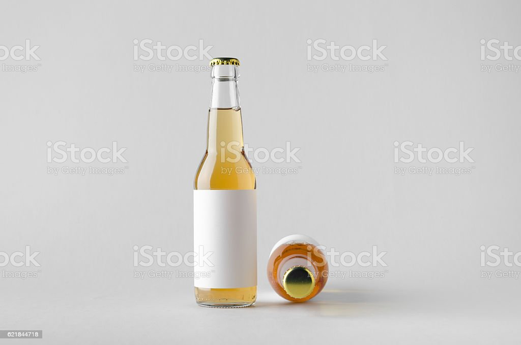 Beer Bottle Mock-Up - Two Bottles. Blank Label