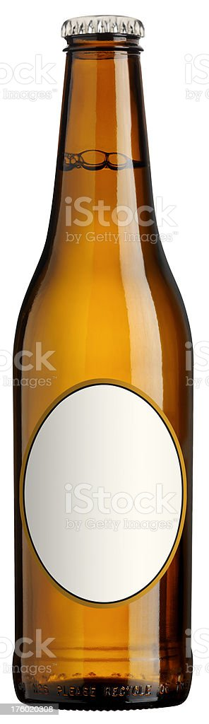 Beer Bottle with blank label, isolated stock photo