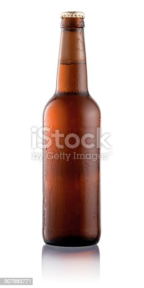 Beer bottle with condensation water drops isolated on white background