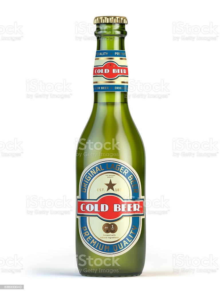 Beer bottle with label 'cold beer' isolated on white. stock photo