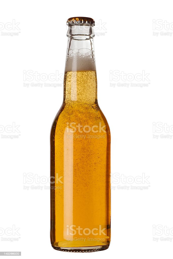 Beer bottle with liquid royalty-free stock photo