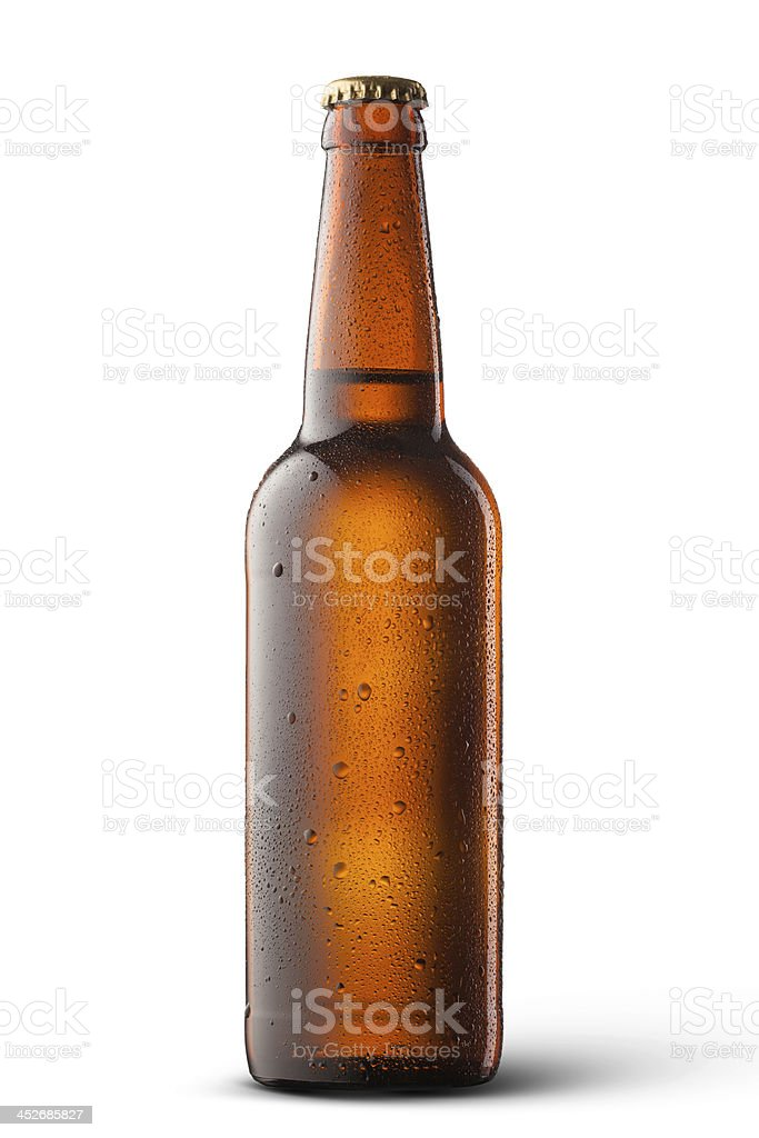 Beer bottle with water drops isolated on white stok fotoğrafı
