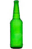 Green wet bottle of refreshing and cold larger beer with water drops and dew
